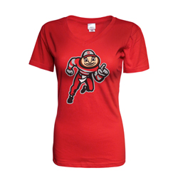 Ohio State Brutus Red V-Neck Tee Shirt